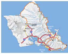 Scuba Diving Sites Hawaii - Oahu Map